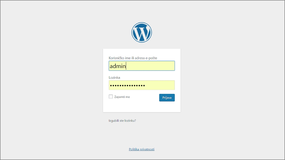 Prijava u WordPress