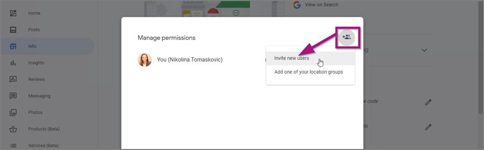 Google My Business dodavanje novog korisnika