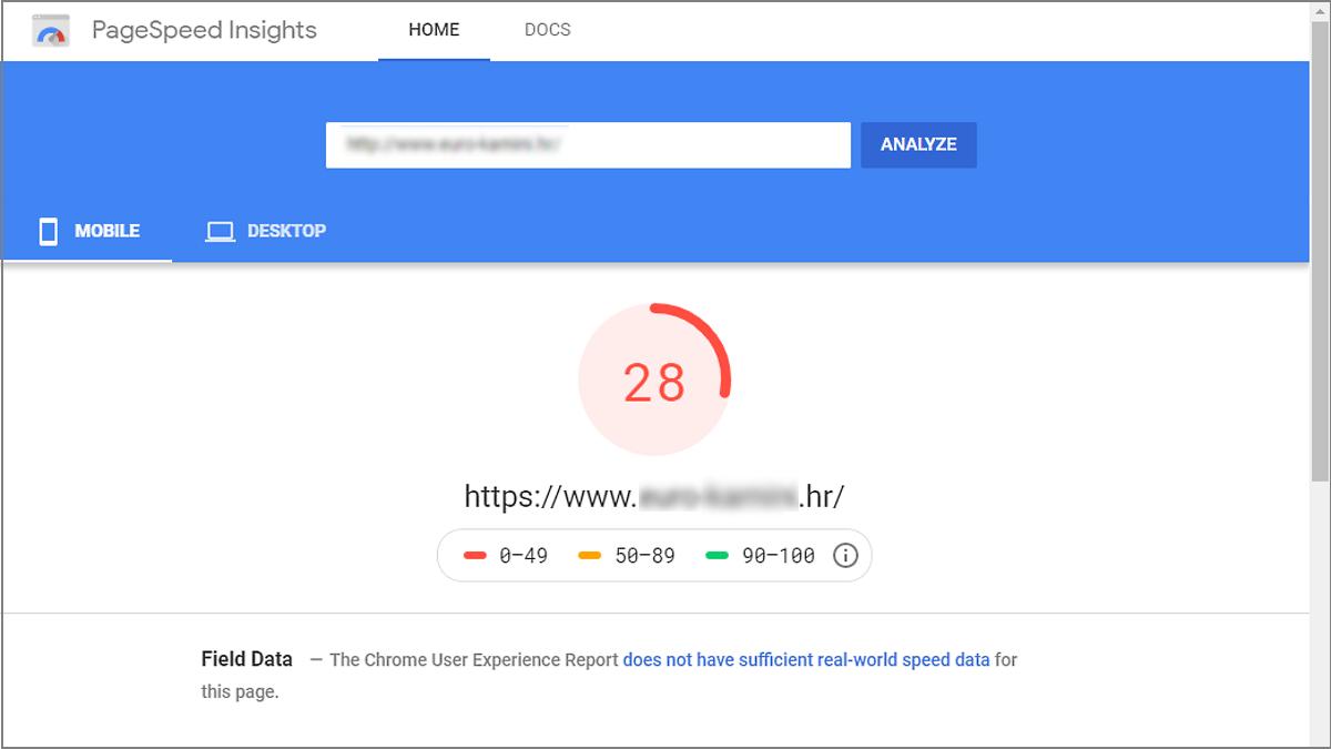 Google alat za brzinu weba